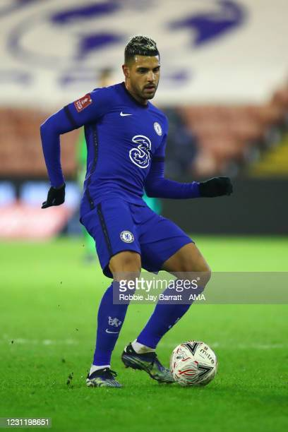 Emerson Palmieri of Chelsea during The Emirates FA Cup Fifth Round match between Barnsley and Chelsea at Oakwell Stadium on February 11, 2021 in...