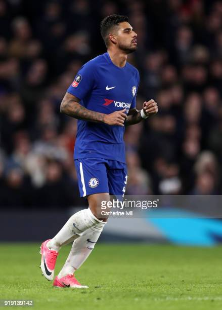 Emerson Palmieri of Chelsea during The Emirates FA Cup Fifth Round match between Chelsea and Hull City at Stamford Bridge on February 16 2018 in...