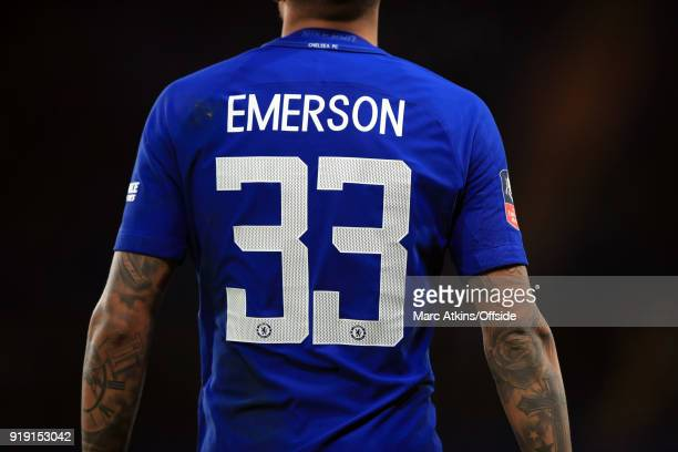 Emerson Palmieri of Chelsea during the FA Cup 5th Round match between Chelsea and Hull City at Stamford Bridge on February 16 2018 in London England