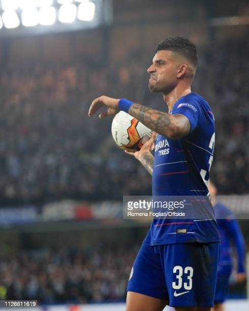 Emerson Palmieri of Chelsea during the UEFA Europa League Round of 32 Second Leg match between Chelsea and Malmo FF at Stamford Bridge on February 21...