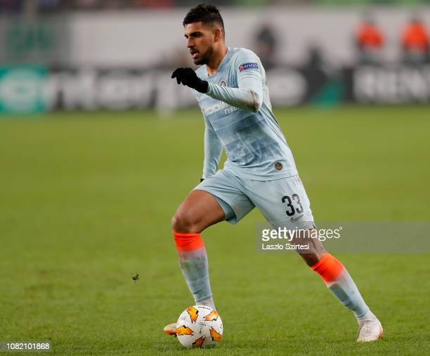 Emerson Palmieri of Chelsea FC controls the ball during the UEFA Europa League Group Stage Match between Vidi FC and Chelsea FC at Ferencvaros...