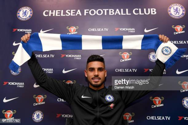 Emerson Palmieri of Chelsea holds his Chelsea scarf at Stamford Bridge on January 30 2018 in London England