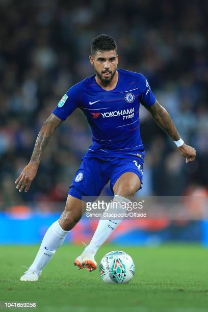 Emerson Palmieri of Chelsea in action during the Carabao Cup Third Round match between Liverpool and Chelsea at Anfield on September 26 2018 in...