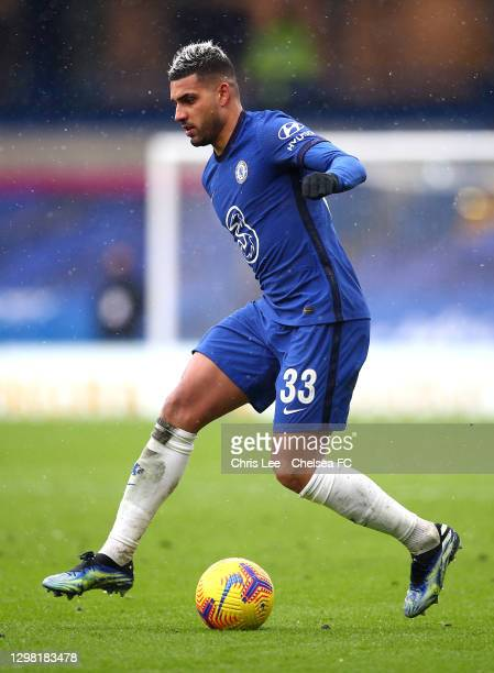 Emerson Palmieri of Chelsea in action during The Emirates FA Cup Fourth Round match between Chelsea and Luton Town at Stamford Bridge on January 24,...