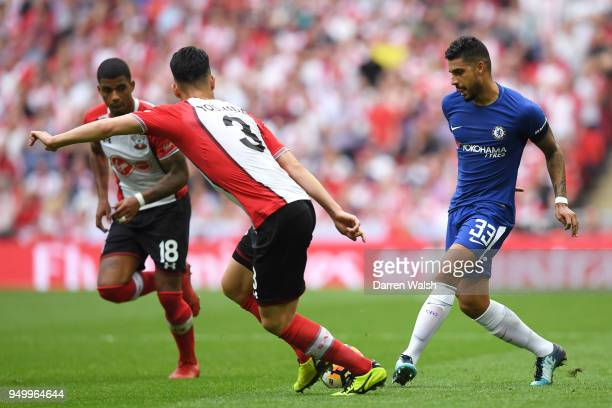 Emerson Palmieri of Chelsea in action during The Emirates FA Cup Semi Final match between Chelsea and Southampton at Wembley Stadium on April 22 2018...