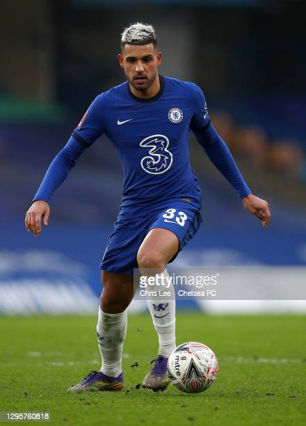 Emerson Palmieri of Chelsea in action during the FA Cup Third Round match between Chelsea and Morecambe at Stamford Bridge on January 10, 2021 in...