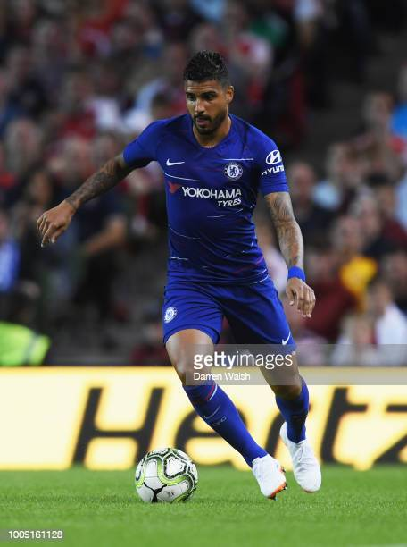Emerson Palmieri of Chelsea in action during the International Champions Cup 2018 match between Arsenal and Chelsea at the Aviva Stadium on August 1...