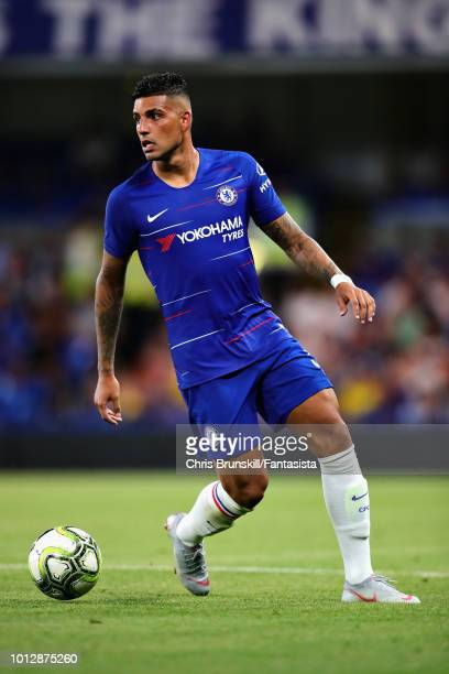 Emerson Palmieri of Chelsea in action during the preseason friendly match between Chelsea and Olympique Lyonnais at Stamford Bridge on August 7 2018...