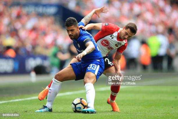 Emerson Palmieri of Chelsea in action with Cedric Soares of Southampton during the Emirates FA Cup Semi Final between Chelsea and Southampton at...