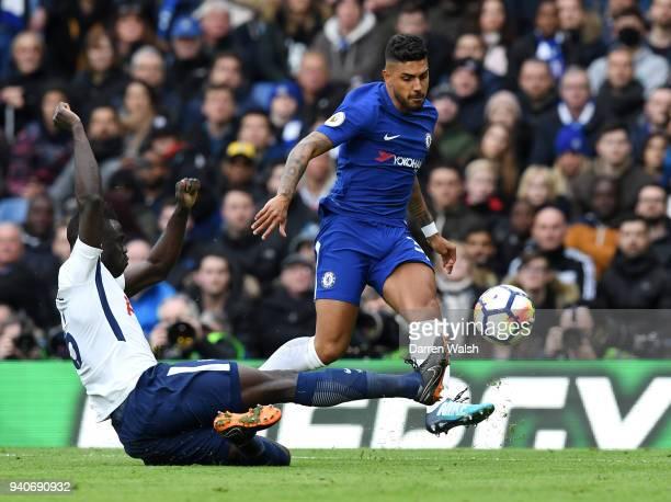 Emerson Palmieri of Chelsea is tackled by Davinson Sanchez of Tottenham Hotspur during the Premier League match between Chelsea and Tottenham Hotspur...