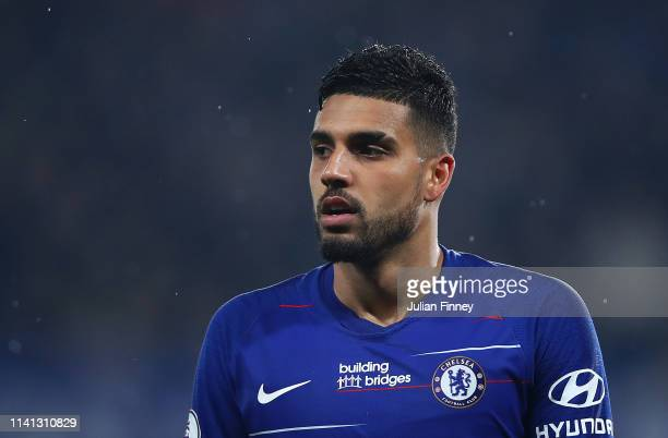 Emerson Palmieri of Chelsea looks on during the Premier League match between Chelsea FC and West Ham United at Stamford Bridge on April 08 2019 in...