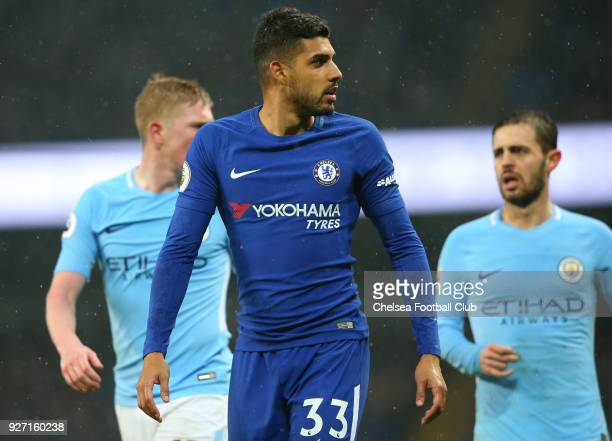 Emerson Palmieri of Chelsea looks on following the Premier League match between Manchester City and Chelsea at Etihad Stadium on March 4 2018 in...
