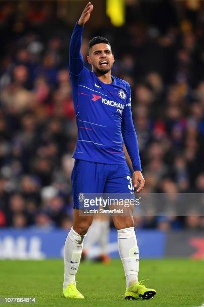 Emerson Palmieri of Chelsea reacts during the FA Cup Third Round match between Chelsea and Nottingham Forest at Stamford Bridge on January 5 2019 in...