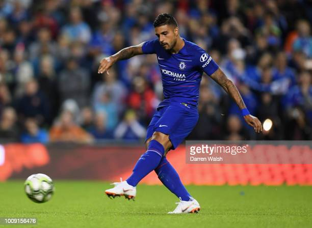 Emerson Palmieri of Chelsea scores a penalty in the shoot out during the International Champions Cup 2018 match between Arsenal and Chelsea at the...