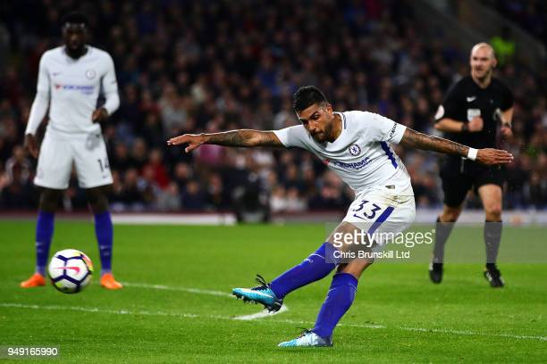 Emerson Palmieri of Chelsea shoots at goal during the Premier League match between Burnley and Chelsea at Turf Moor on April 19 2018 in Burnley...