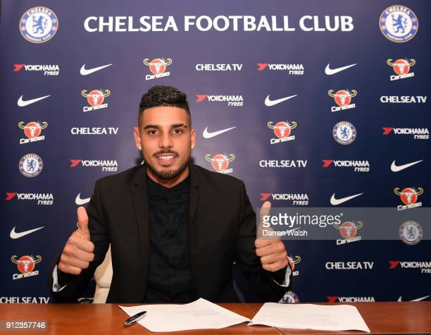 Emerson Palmieri of Chelsea signs his contract at Stamford Bridge on January 30 2018 in London England