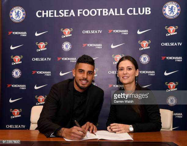 Emerson Palmieri of Chelsea signs his contract for Chelsea alongside Director of Chelsea Marina Granovskaia at Stamford Bridge on January 30 2018 in...