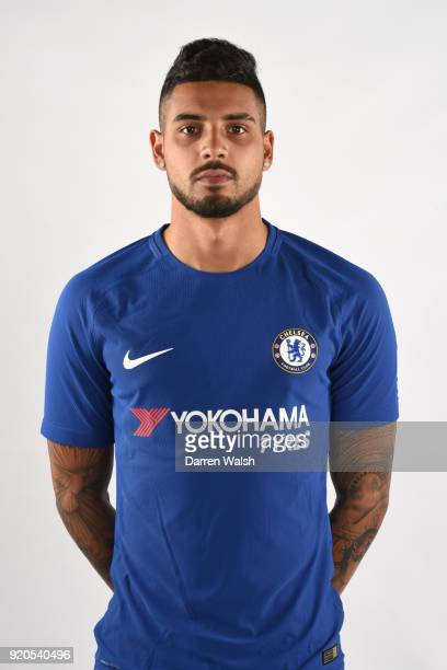 Emerson Palmieri of Chelsea Studio portrait photocall at Chelsea Training Ground on February 02 2018 in Cobham England