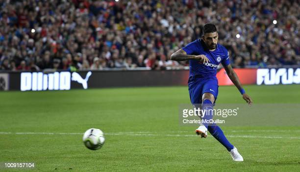 Emerson Palmieri of Chelsea takes a penalty during the Preseason friendly International Champions Cup game between Arsenal and Chelsea at Aviva...