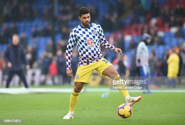 Emerson Palmieri of Chelsea warms up prior to the Premier League match between Crystal Palace and Chelsea FC at Selhurst Park on December 30 2018 in...