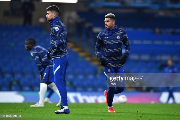 Emerson Palmieri of Chelsea warms up prior to the Premier League match between Chelsea and Sheffield United at Stamford Bridge on November 07, 2020...
