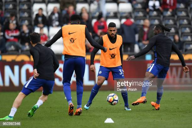 Emerson Palmieri of Chelsea warms up prior to the Premier League match between Swansea City and Chelsea at Liberty Stadium on April 28 2018 in...