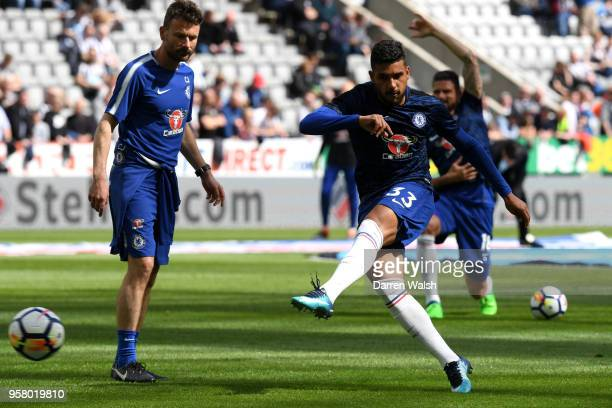 Emerson Palmieri of Chelsea warms up prior to the Premier League match between Newcastle United and Chelsea at St James Park on May 13 2018 in...