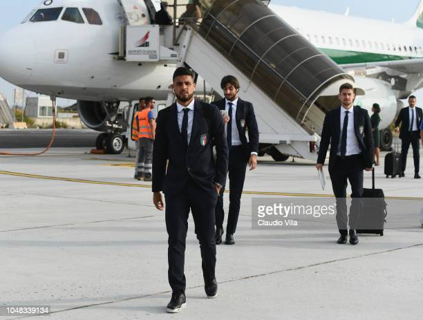 Emerson Palmieri of Italy arrives to Genoa Airport before a training session on October 9 2018 in Genoa Italy