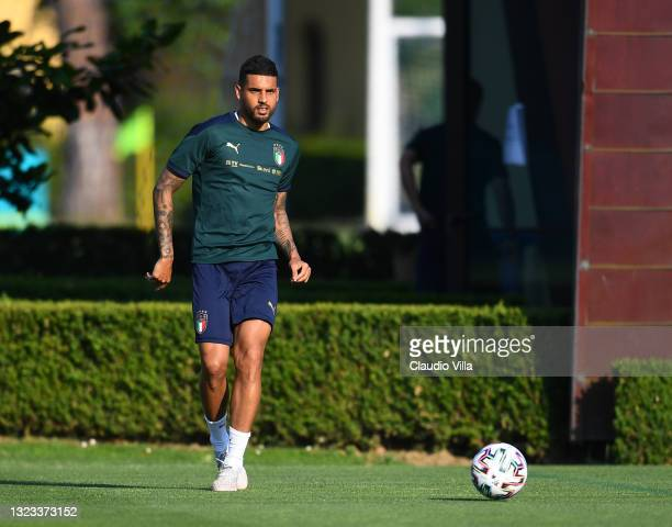Emerson Palmieri of Italy in action during an Italy training session at Centro Tecnico Federale di Coverciano on June 13, 2021 in Florence, Italy.