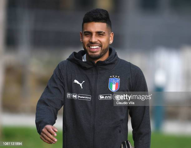 Emerson Palmieri of Italy looks on before training session at Centro Tecnico Federale di Coverciano on November 13 2018 in Florence Italy