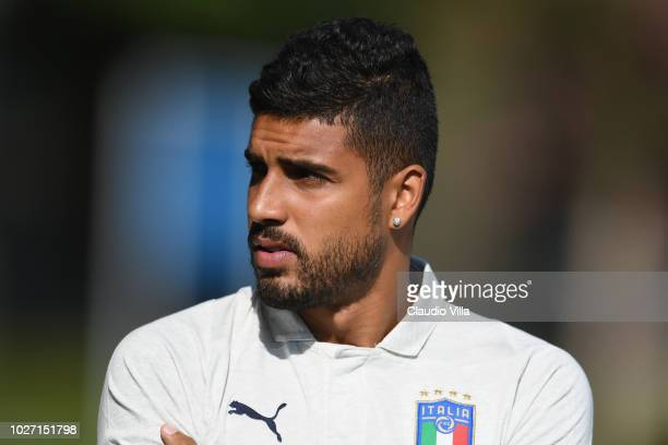 Emerson Palmieri of Italy looks on prior to the Italy training session at Centro Tecnico Federale di Coverciano on September 5 2018 in Florence Italy
