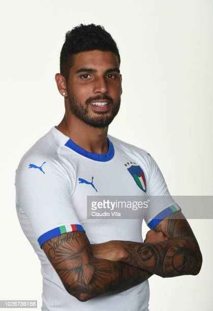 Emerson Palmieri of Italy poses during the official portrait session at Centro Tecnico Federale di Coverciano on September 4 2018 in Florence Italy