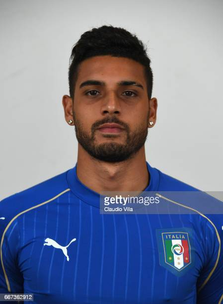 Emerson Palmieri of Italy poses during the official portrait session after the training session at the club's training ground at Coverciano at...