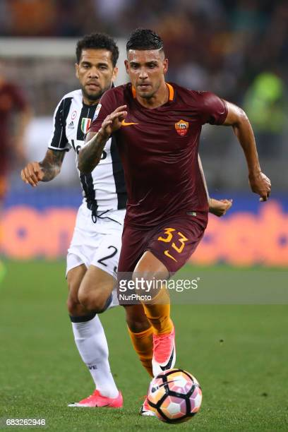 Emerson Palmieri of Roma and Daniel Alves of Juventus at Olimpico Stadium in Rome Italy on May 14 2017