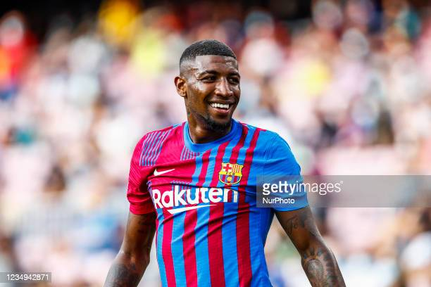 Emerson Royal of FC Barcelona smiling. During the La Liga Santader match between FC Barcelona and Getafe CF at Camp Nou Stadium on August 29, 2021 in...