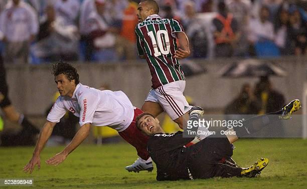 Emerson scoring the third goal for Fluminense in their 3-0 win over Internacional during the Futebol Brasileirao Campeonato Brasileiro Serie-A 2010...