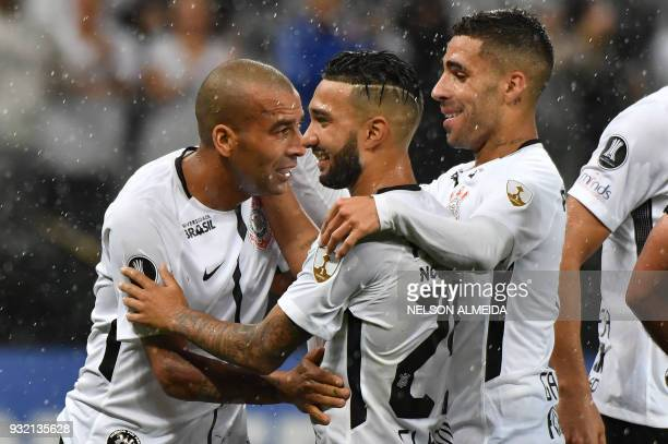 Emerson Sheik of Brazil's Corinthians celebrates with teammates his goal against Venezuela's Deportivo Lara during their 2018 Copa Libertadores...