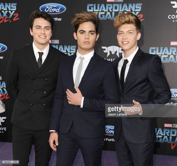 Emery Kelly Ricky Garcia and Liam Attridge of Forever in Your Mind attend the premiere of 'Guardians of the Galaxy Vol 2' at Dolby Theatre on April...