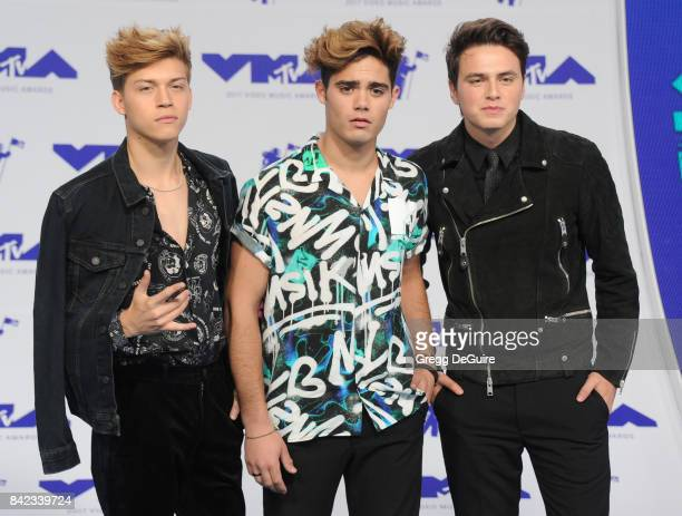 Emery Kelly Ricky Garcia and Liam Attridge of Forever in Your Mind arrive at the 2017 MTV Video Music Awards at The Forum on August 27 2017 in...