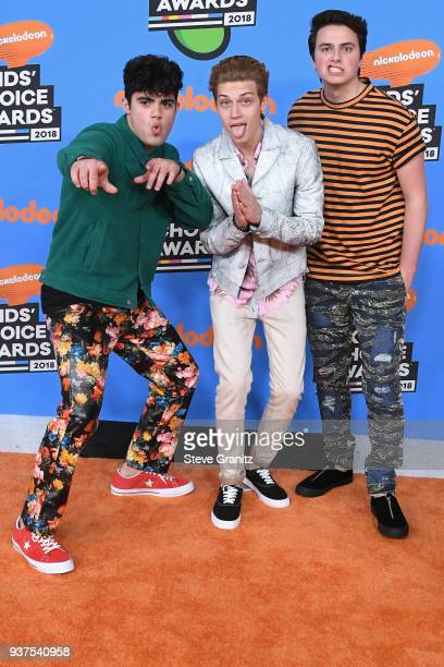 Emery Kelly Ricky Garcia and Liam Attridge of music group Forever in Your Mind attend Nickelodeon's 2018 Kids' Choice Awards at The Forum on March 24...