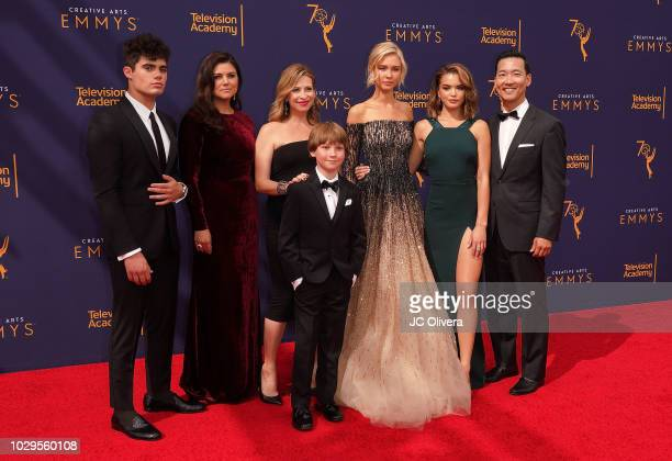 Emery Kelly Tiffani Thiessen Finn Carr Jolie Jenkins Isabel May Paris Berelc and Eddie Shin attend the 2018 Creative Arts Emmy Awards at Microsoft...