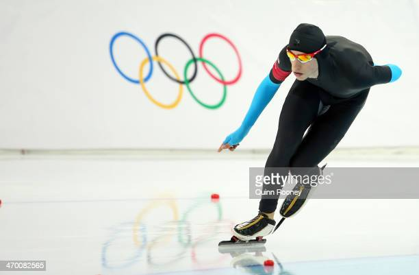 Emery Lehman of the United States competes during the Men's 10000m Speed Skating event on day eleven of the Sochi 2014 Winter Olympics at Adler Arena...