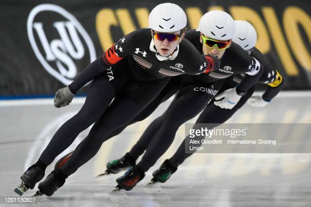 Emery Lehman of the United States leads during the men's team pursuit during the ISU World Single Distances Speed Skating Championships on February...