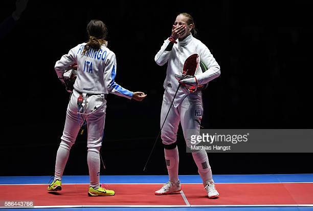 Emese Szasz of Hungary celebrates after winning the Women's Epee Individual Gold Medal match against Rossella Fiamingo of Italy on Day 1 of the Rio...