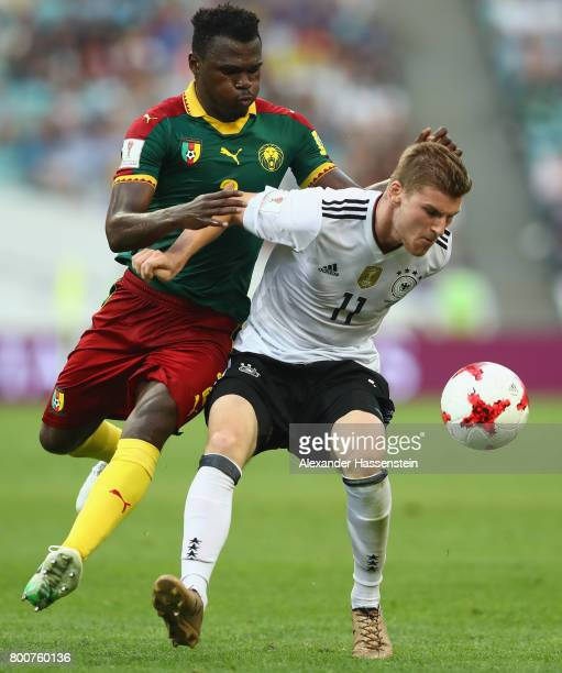 Emest Mabouka of Cameroon and Timo Werner of Germany battle for possession during the FIFA Confederations Cup Russia 2017 Group B match between...