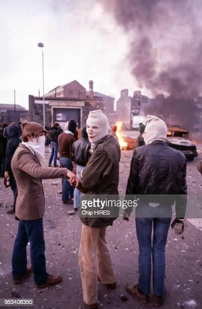 Emeutes à Belfast après la mort de Bobby Sands en mai 1981 en Irlande du Nord au RoyaumeUni
