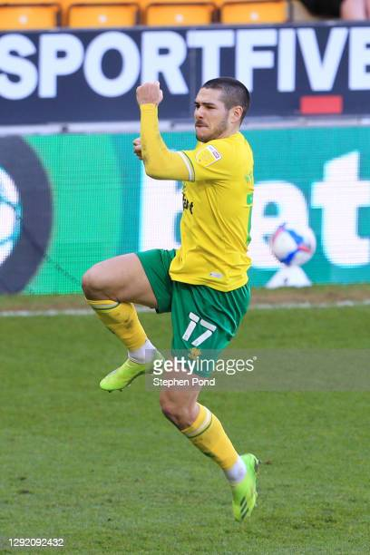 Emi Buendía of Norwich City celebrates after scoring their sides first goal during the Sky Bet Championship match between Norwich City and Cardiff...