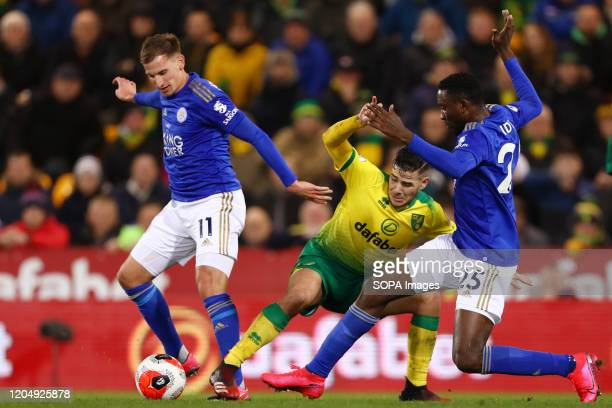 Emi Buendia Marc Albrighton and Wilfred Ndidi in action during the Premier League match between Norwich City and Leicester City at Carrow Road Final...
