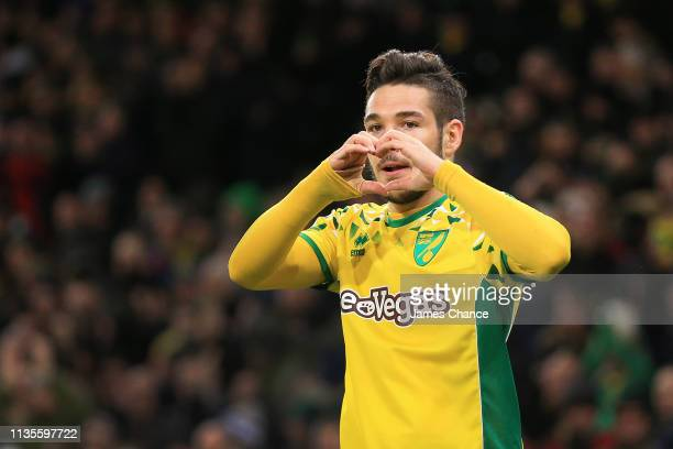 Emi Buendia of Norwich celebrates scoring to make it 20 during the Sky Bet Championship match between Norwich City and Hull City at Carrow Road on...