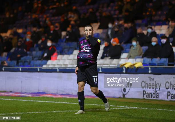 Emi Buendia of Norwich City celebrates after scoring their team's first goal from a penalty during the Sky Bet Championship match between Luton Town...